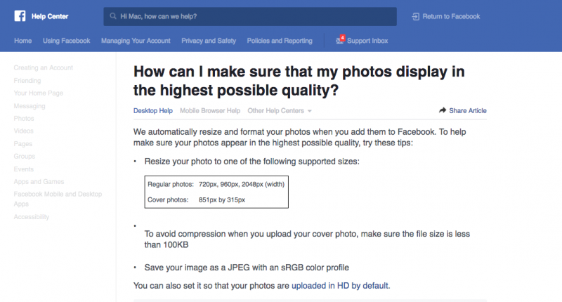 capture ecran facebook sur la compression des images